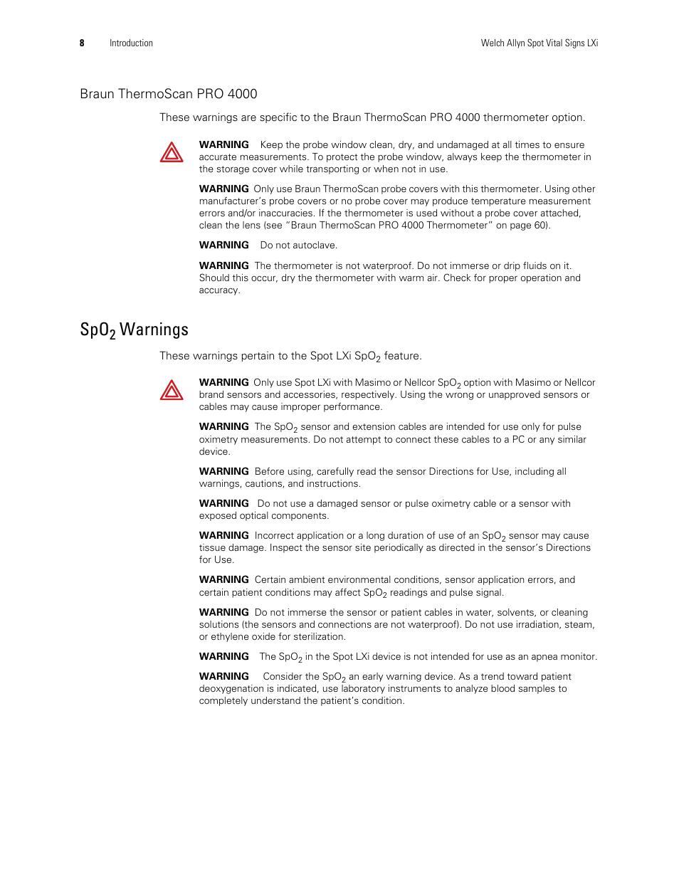 Spo2 Warnings Warnings Braun Thermoscan Pro 4000 Welch Allyn