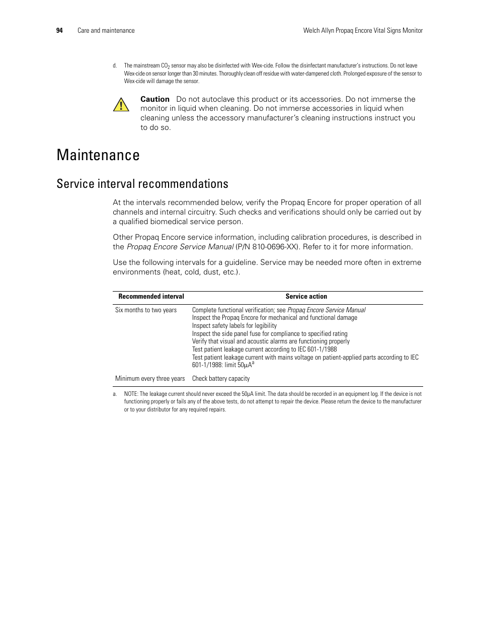 Maintenance Service Interval Recommendations Welch Allyn 206el Mains Voltage Monitor Propaq Encore Vital Signs User Manual Page 98 142