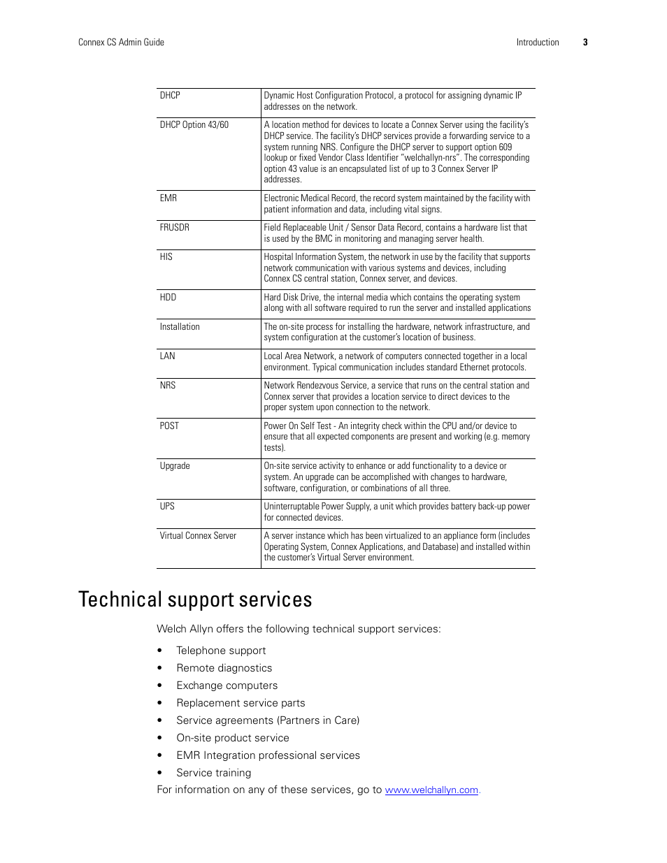 Technical support services | Welch Allyn Connex CS Central
