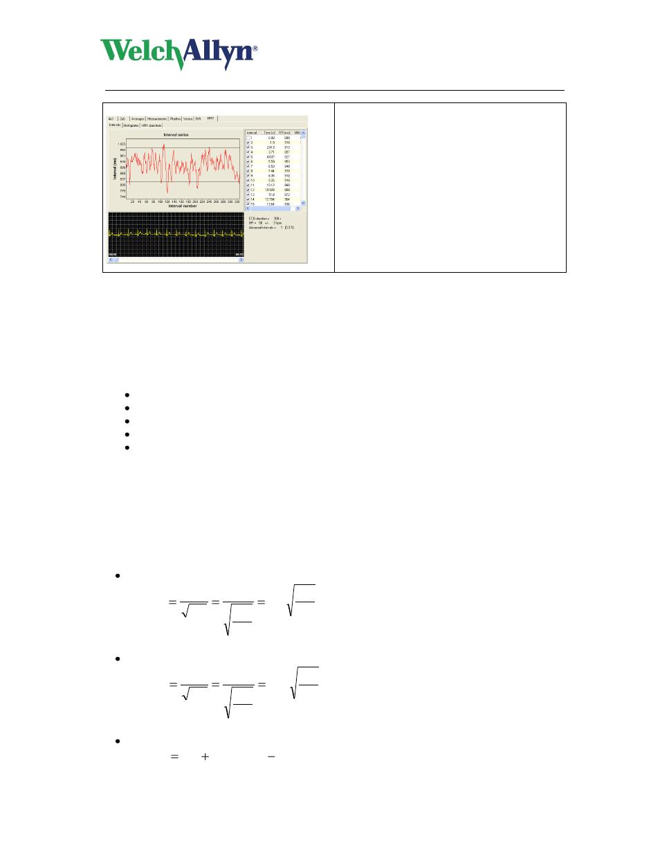 Parameters, Cardioperfect workstation, Resting ecg module