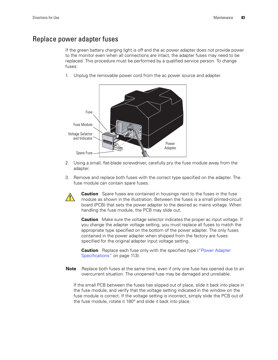Replace Power Adapter Fuses Welch Allyn 246 Propaq Cs Vital Signs Ac Monitor V37x User Manual Page 87 130