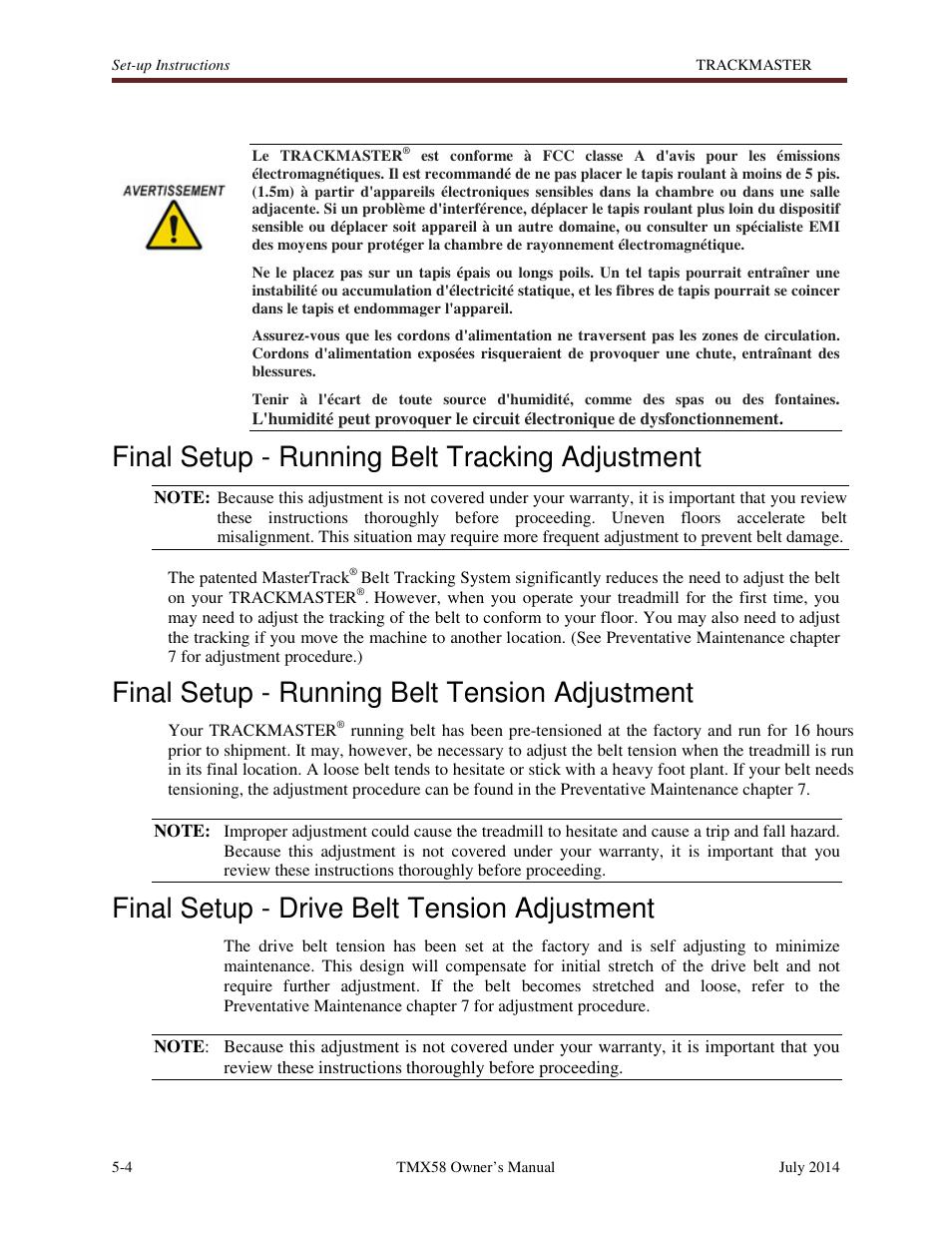 Final setup - running belt tracking adjustment, Final setup