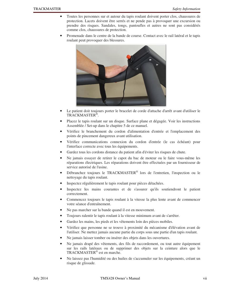 Welch Allyn TMX428CP Trackmaster Medical Treadmill - User