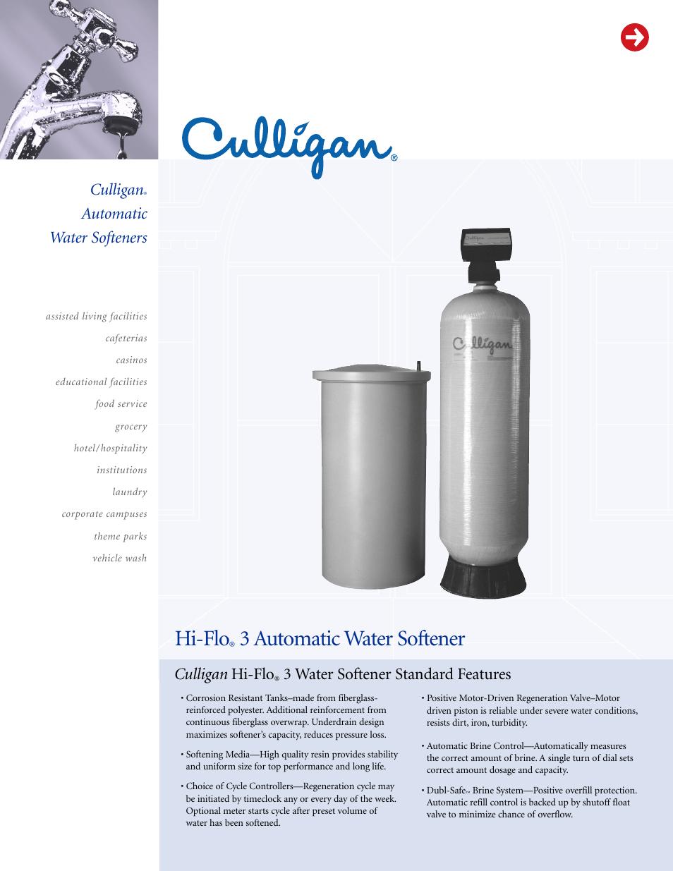 culligan automatic water softeners user manual 9 pages rh manualsdir com culligan hi flo 2 water conditioner manual Hi-Flo Oil Filter