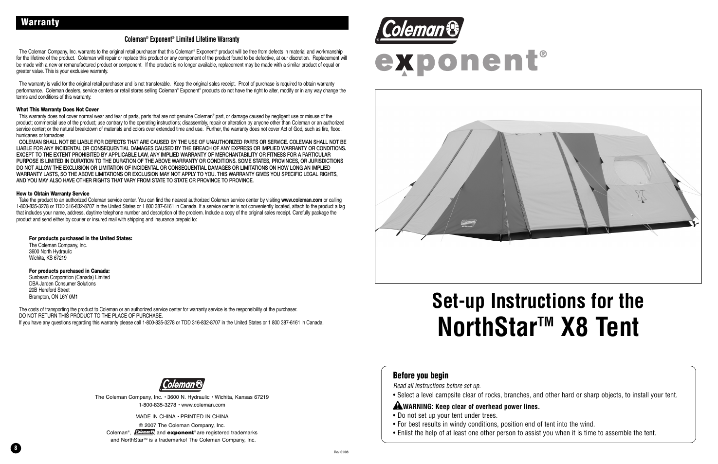 Coleman Tent X8 User Manual | 4 pages