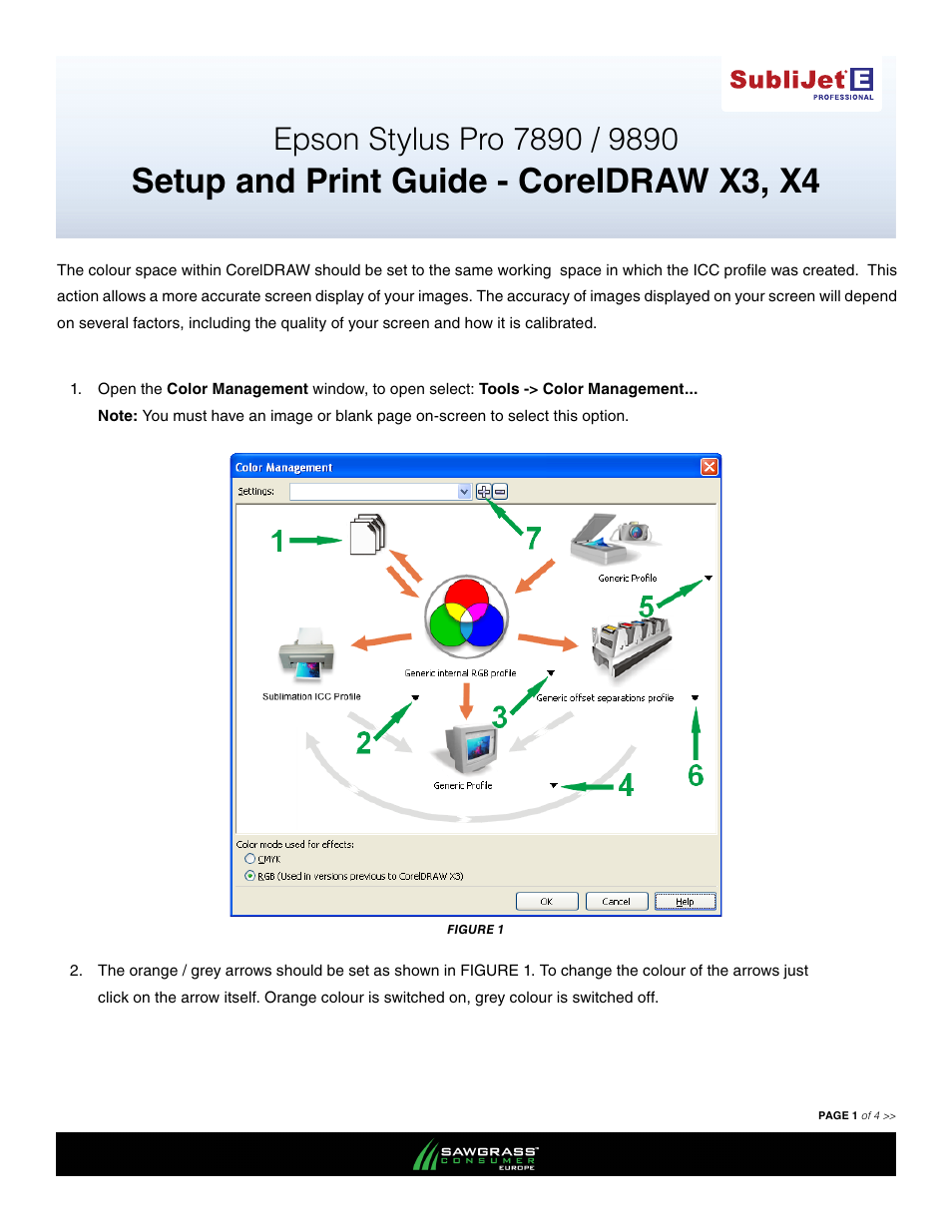 Xpres SubliJet E Epson Stylus Pro 9890 (Windows ICC Profile Setup): Print &  Setup Guide CorelDRAW X3 - X4 User Manual | 3 pages | Also for: SubliJet E  Epson ...