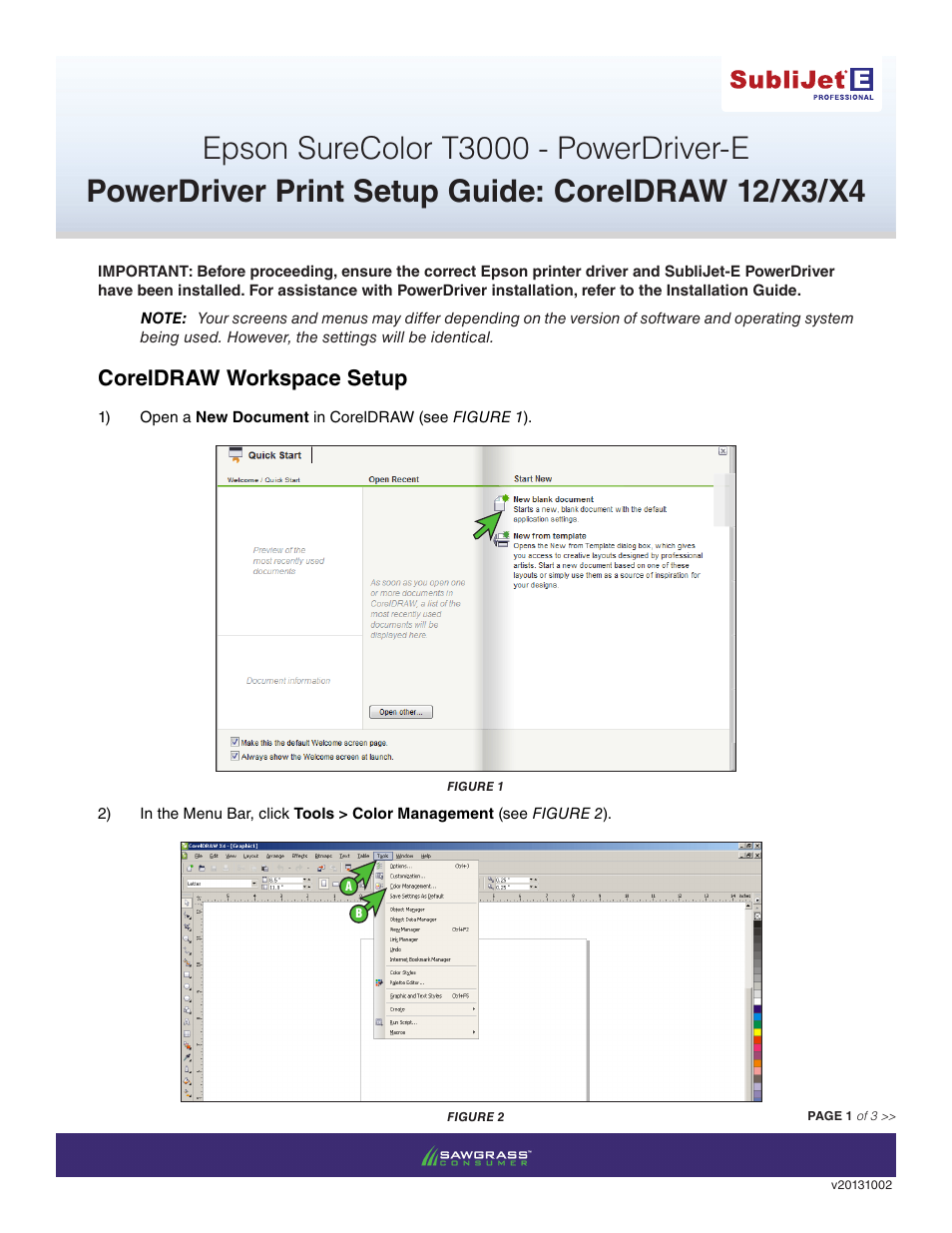 Coreldraw version 12 - Xpres Sublijet E Epson Surecolor T3000 Power Driver Setup Print Setup Guide Coreldraw 12 X4 User Manual 3 Pages