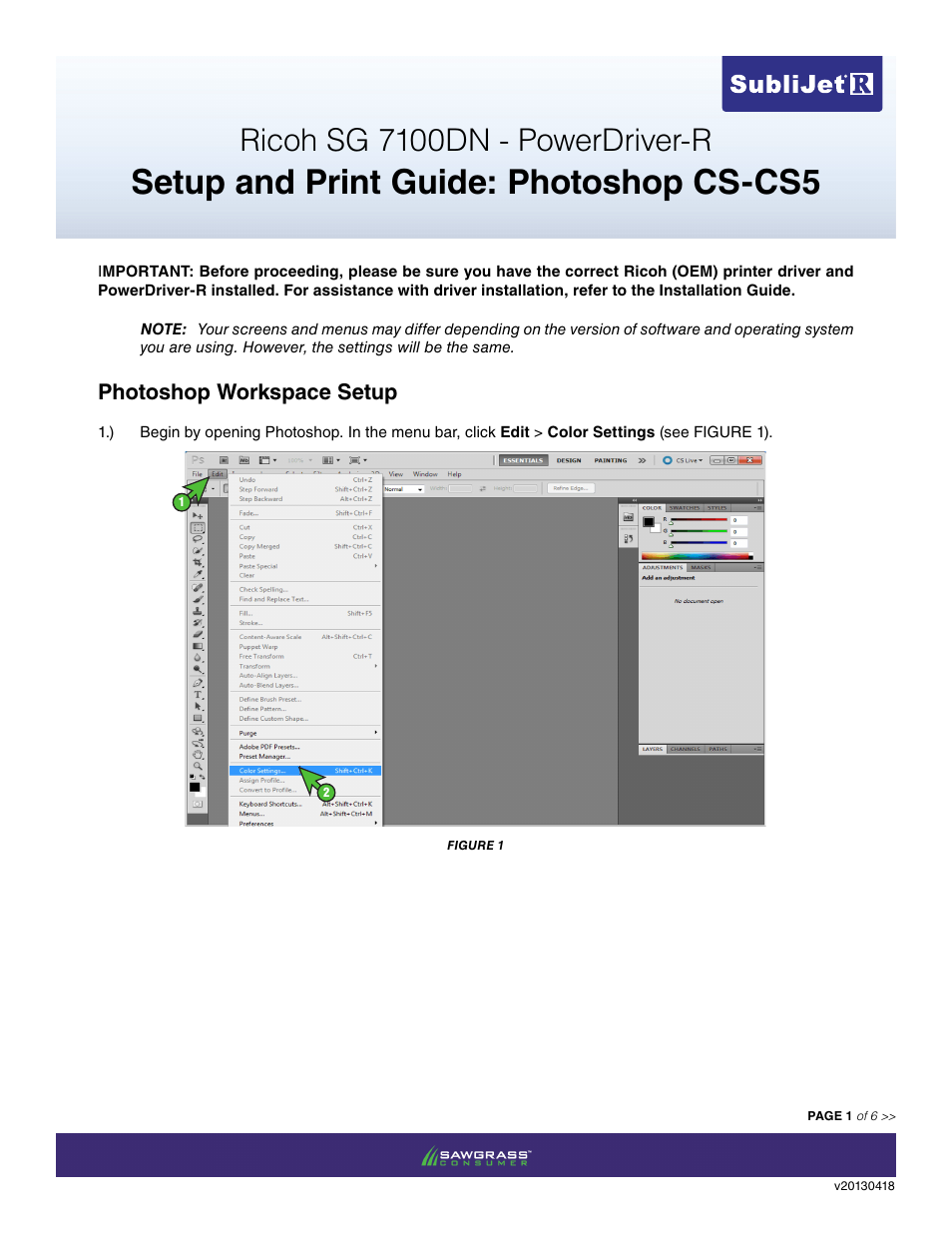 Xpres SubliJet R Ricoh SG7100DN (Windows Power Driver Setup): Print & Setup  Guide Adobe Photoshop CS - CS5 User Manual | 6 pages