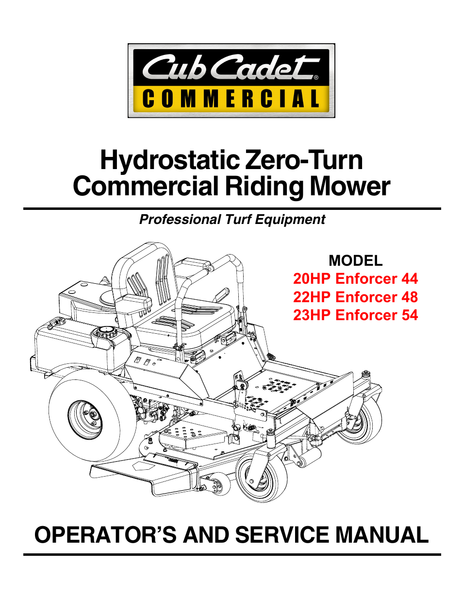 cub cadet 22hp enforcer 48 en user manual