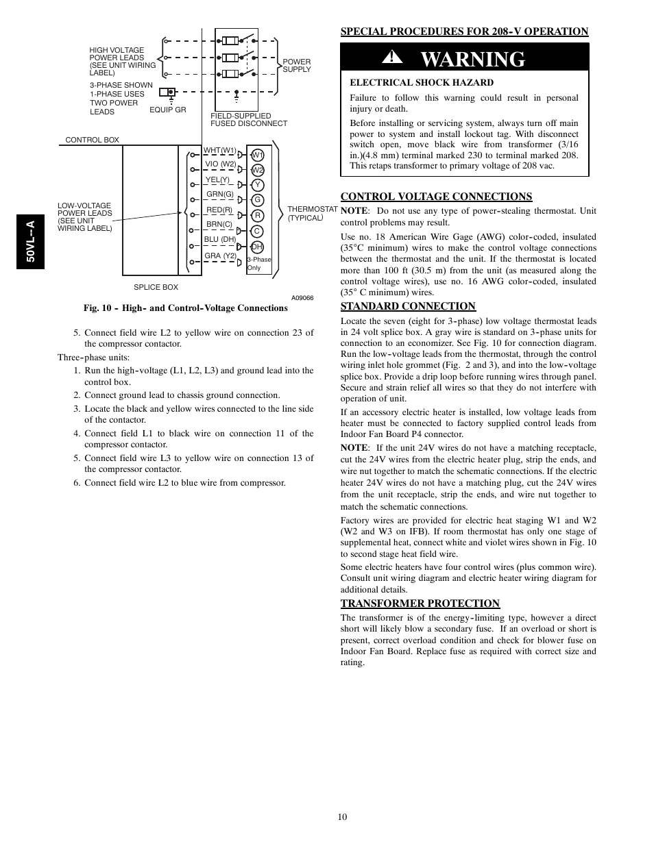 Warning Carrier 50vl A User Manual Page 10 30 3 Phase Electric Heating Wiring Diagram