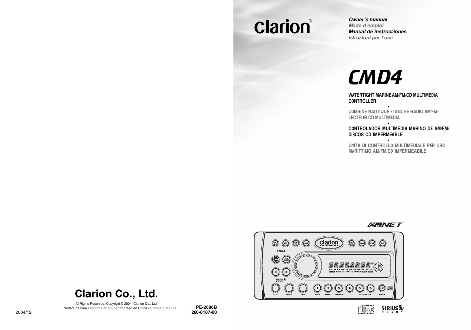 clarion cmd4 user manual 73 pages rh manualsdir com Clarion CMD5 Clarion CMD5