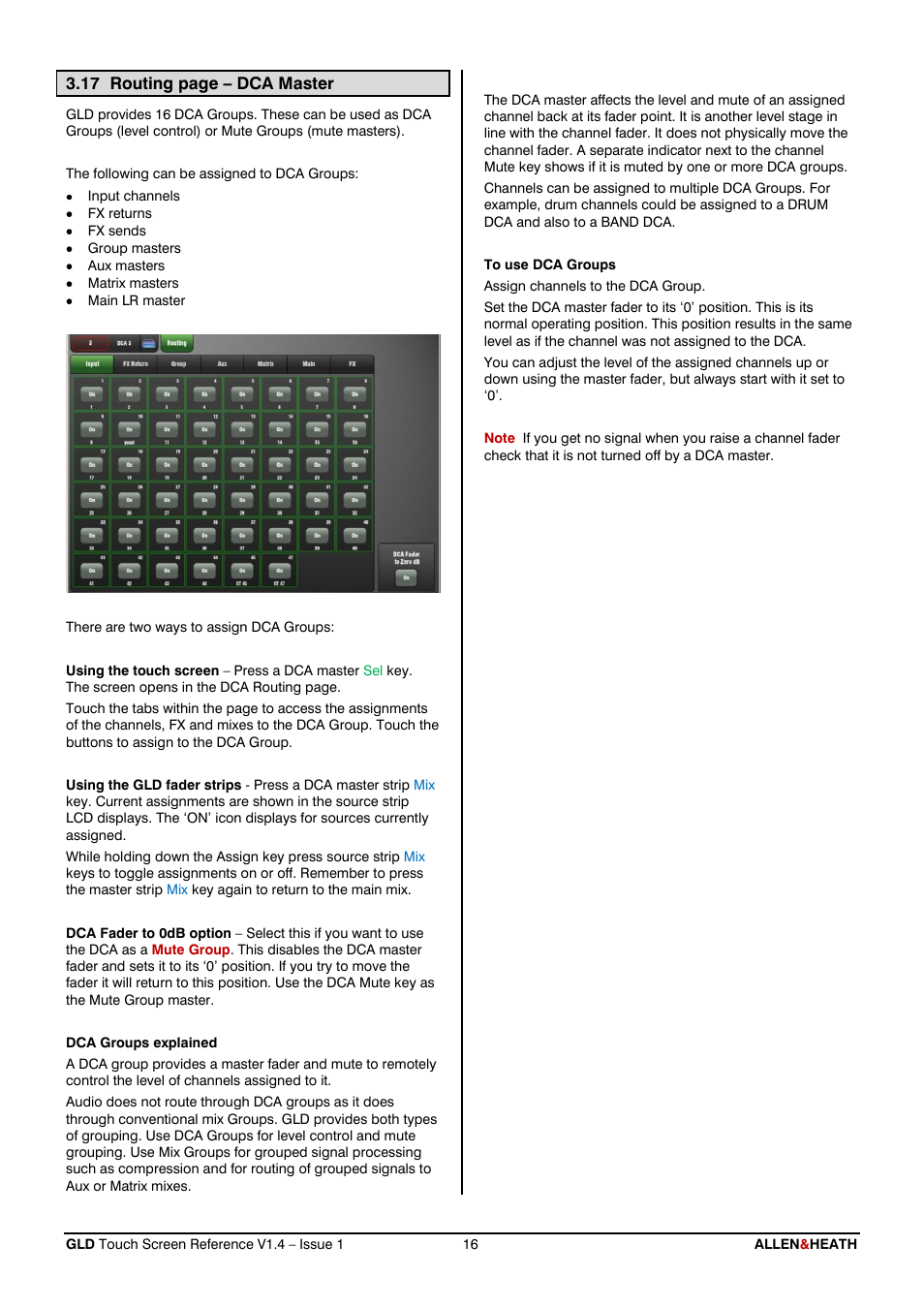 Allen&Heath GLD-112 Reference Guide User Manual | Page 16