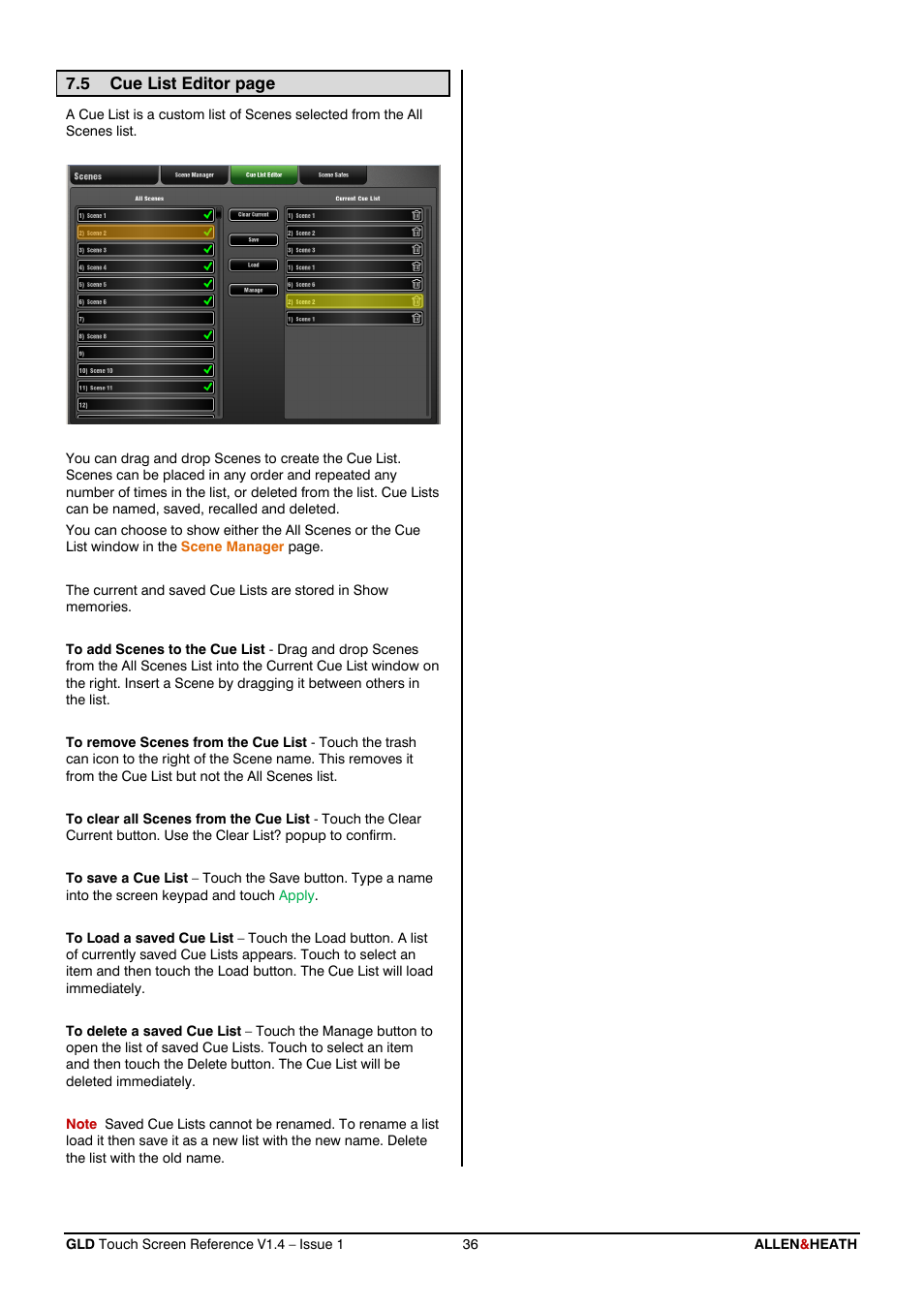 Show scenes page - Cue List Allen Heath Gld 112 Reference Guide User Manual Page 36 55