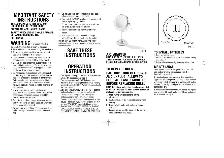 conair manuals user guide