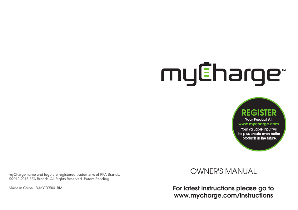 Mycharge Power Bank 3000 Myc 0502 1rm User Manual 8 Pages Also