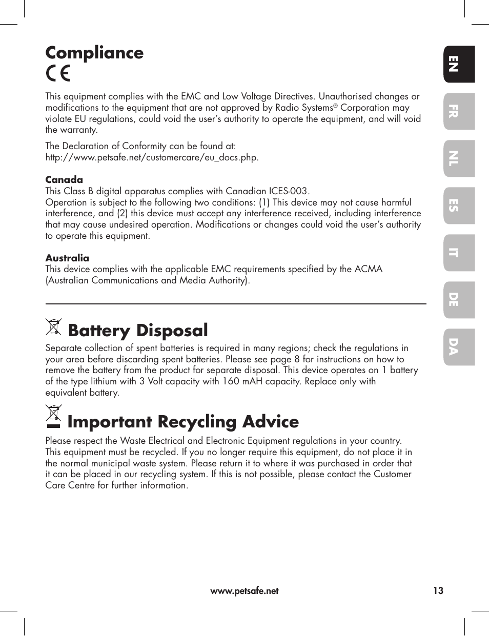 Compliance, Battery disposal, Important recycling advice | Petsafe