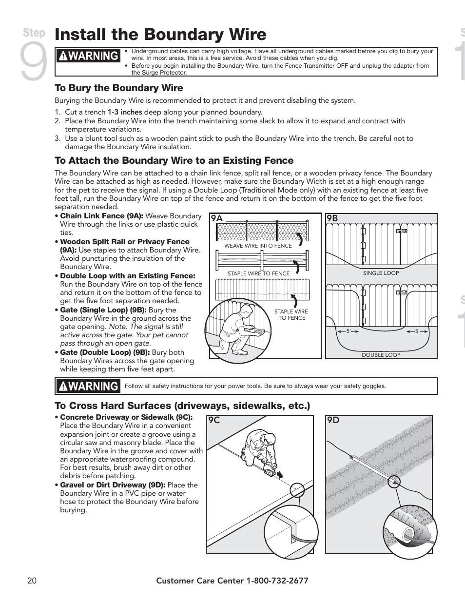 Install the boundary wire, Place the boundary flags, Fit the receiver  collar | Step