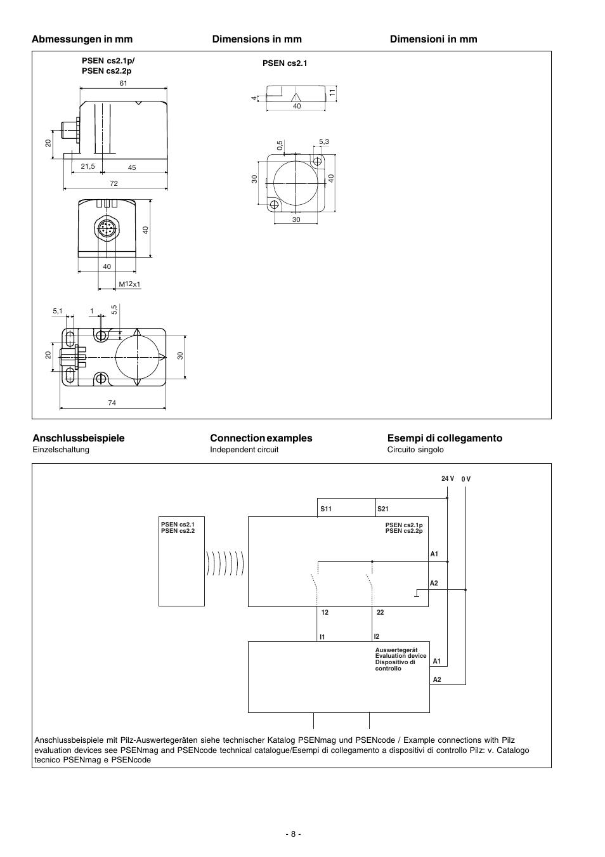 Abmessungen In Mm  Anschlussbeispiele  Connection Examples