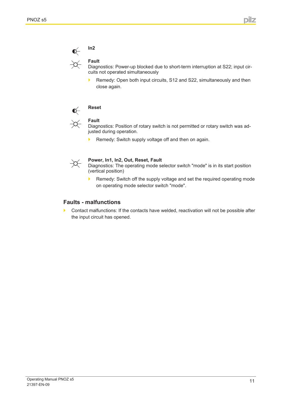 Error indicators   pilz pnoz s5 c 24vdc 2 n/o 2 n/o t coated user.
