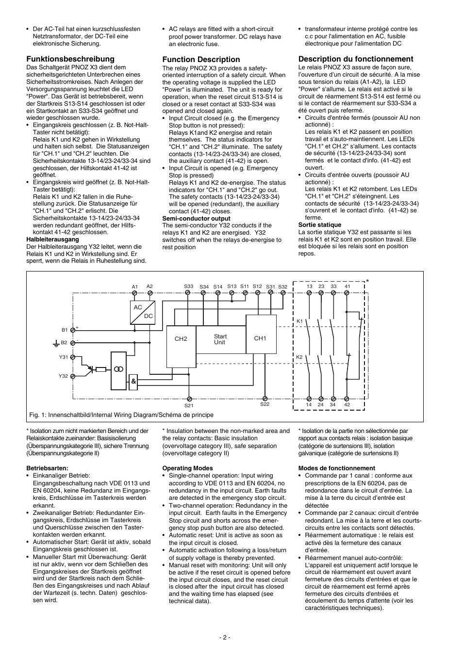 Pilz Pnoz X3 Schematic Trusted Wiring Diagrams Contactor Diagram Additionally Safety Relay Description Du Fonctionnement Funktionsbeschreibung Function
