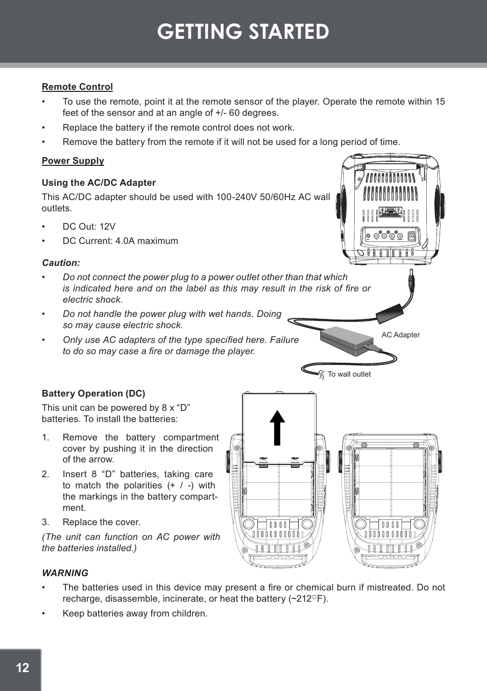 getting started, remote control, power supply | coby electronic tv-dvd1260  user manual | page 12 / 28