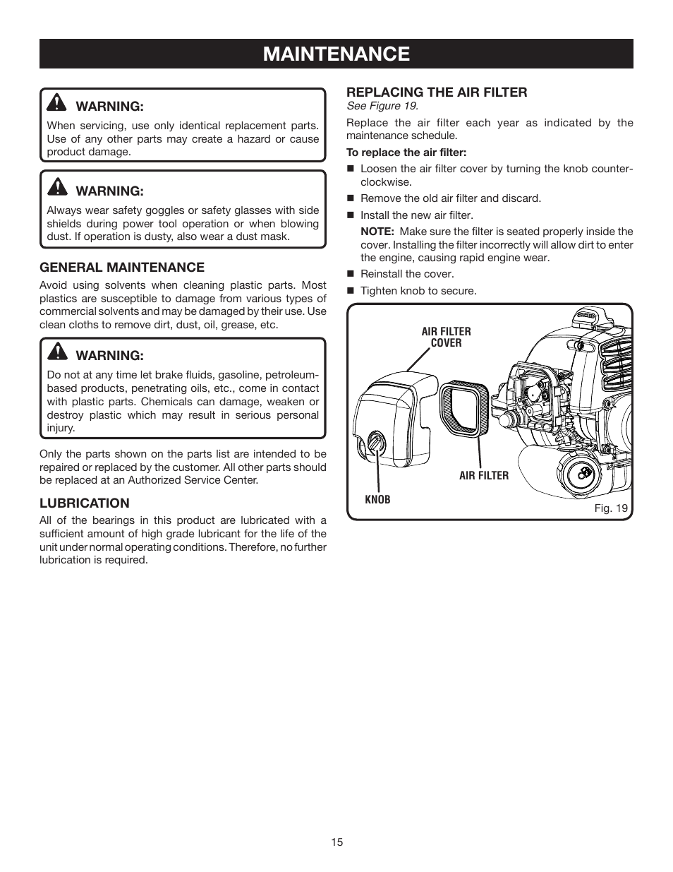 maintenance ryobi ry60520 user manual page 15 22 original mode rh manualsdir com Ryobi Parts Ryobi Manual P2006a