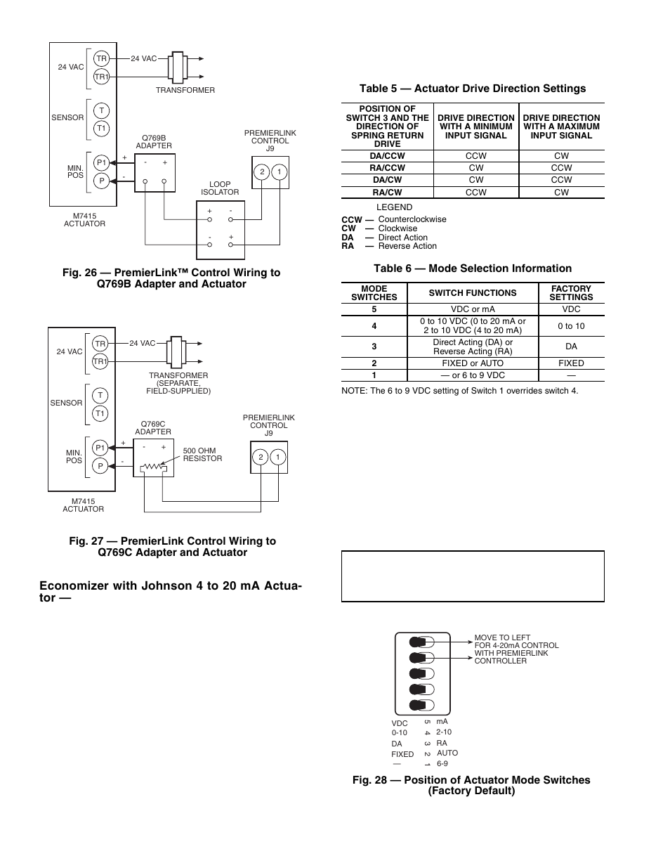 Economizer with johnson 4 to 20 ma actua- tor | Carrier PREMIERLINK  33CSPREMLK User Manual