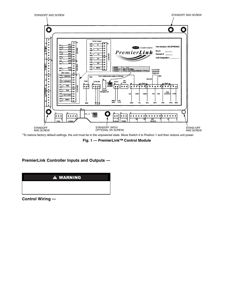 Carrier Premierlink 33cspremlk User Manual Page 3 44 Link Controls Wiring Diagram