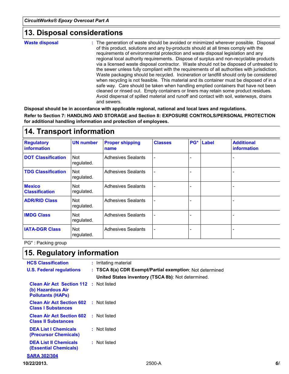 disposal considerations, transport information, regulatorydisposal considerations, transport information, regulatory information chemtronics circuitworks® epoxy overcoat (adhesive syringe) cw2500 user manual