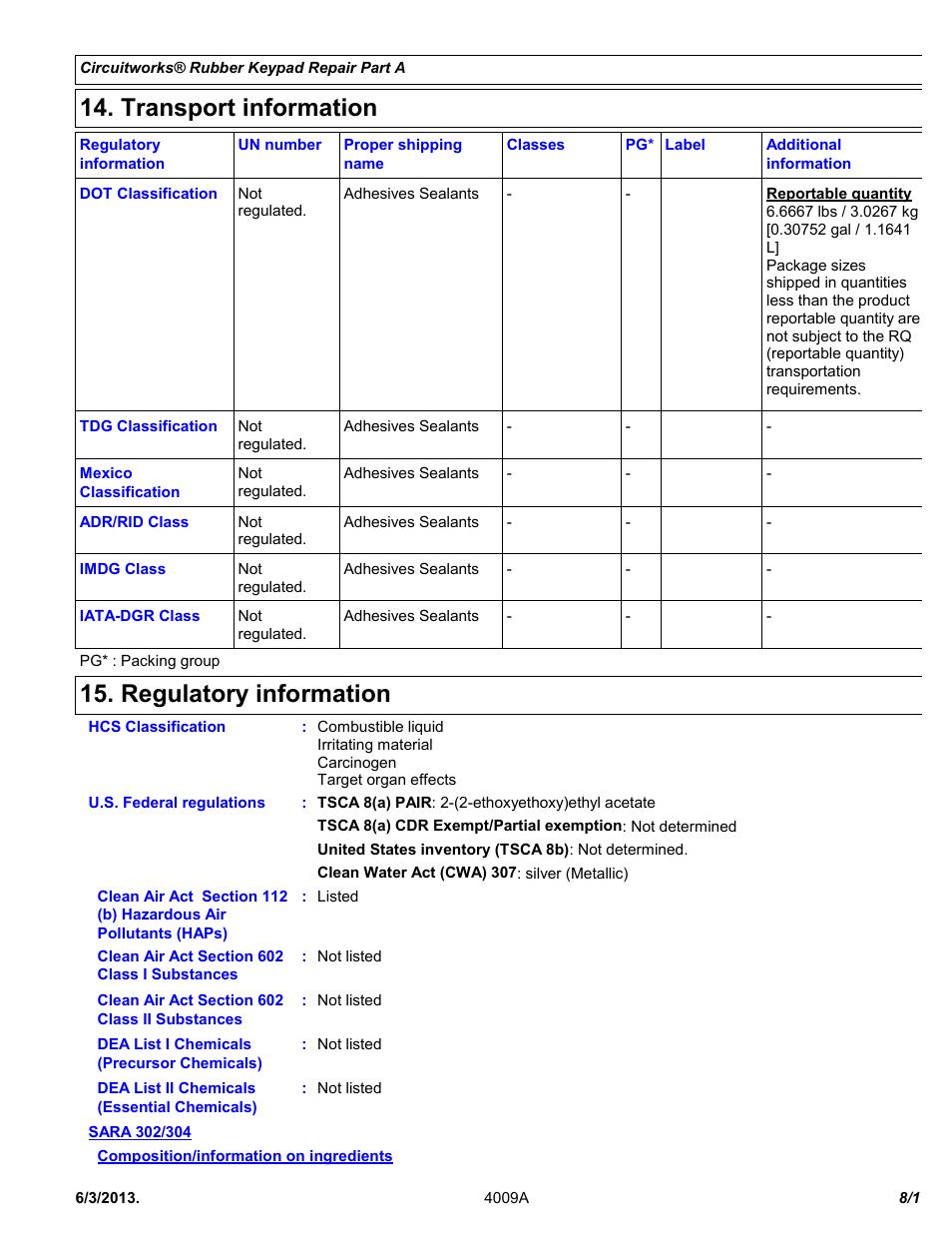 Transport Information  Regulatory Information