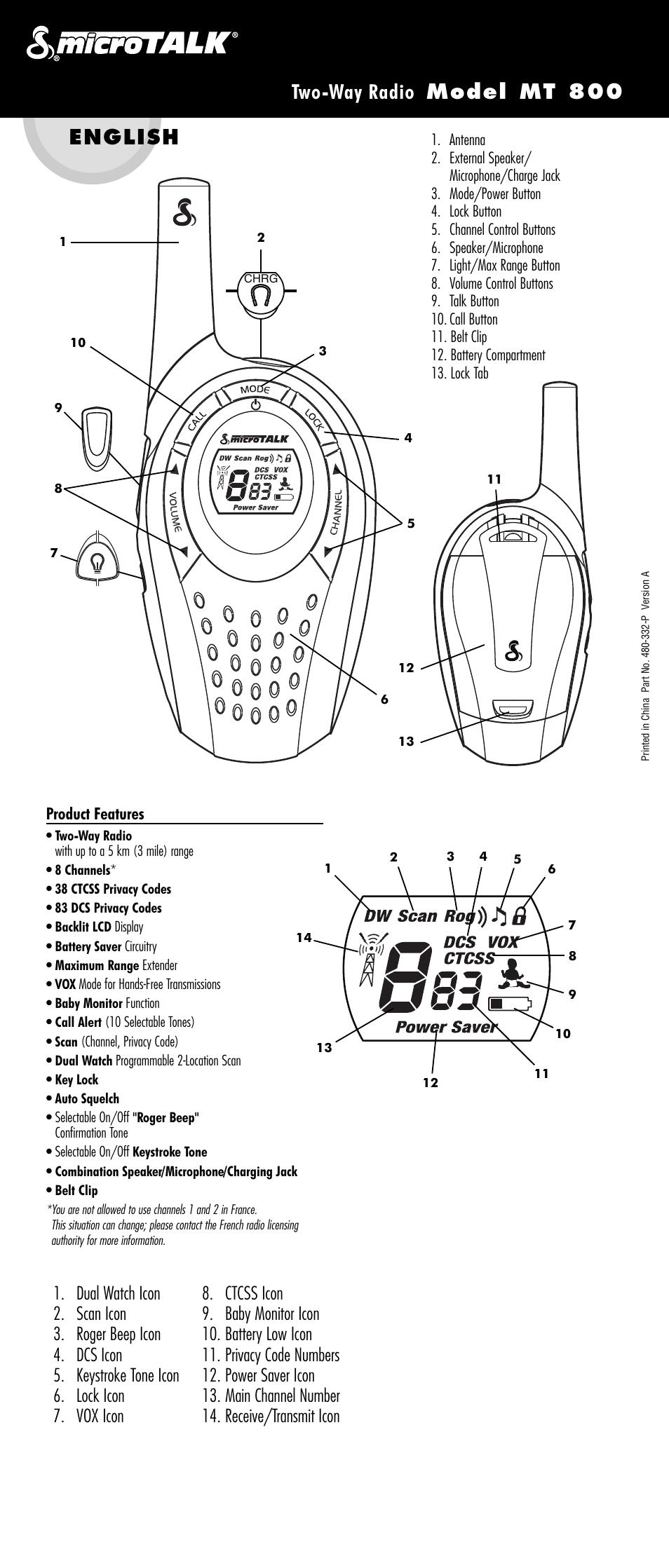 cobra electronics microtalk mt 800 user manual