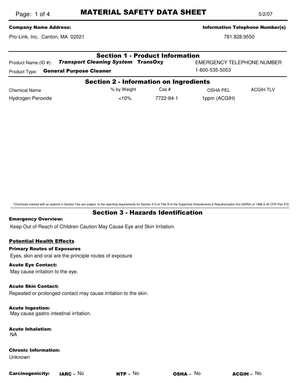 Pro-Link TCS-3 TransOxy Oxygenated Cleaner TCS11022 User
