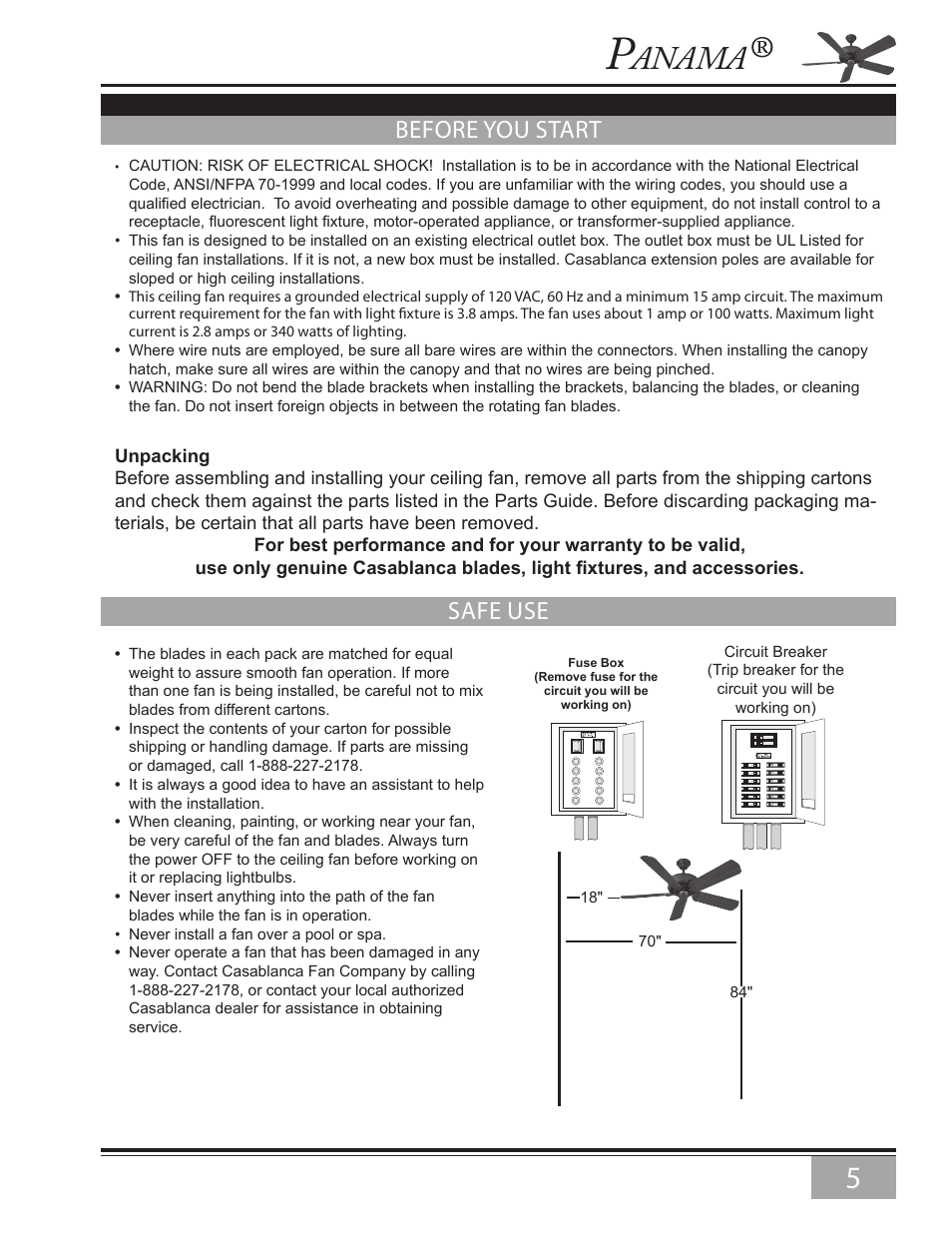 Before You Start Safe Use Anama Casablanca Fan Company Panama Fuse Box Light Ceiling 6643z User Manual Page 5 22