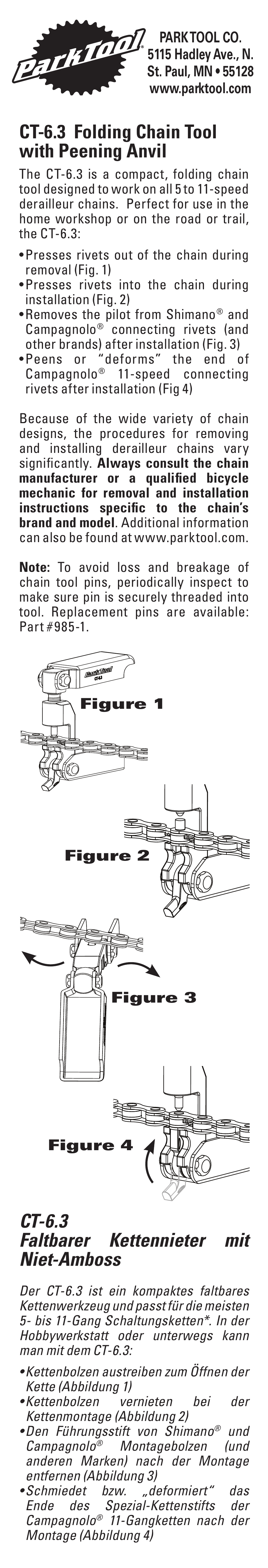Park Tool Folding Chain Tool with Peening Anvil User Manual | 2 pages