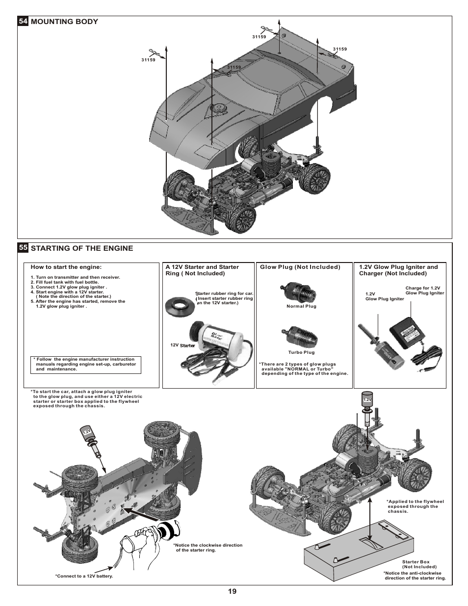55 starting of the engine 54 mounting body | OFNA Racing Late Model Dirt  Oval User Manual | Page 23 / 29