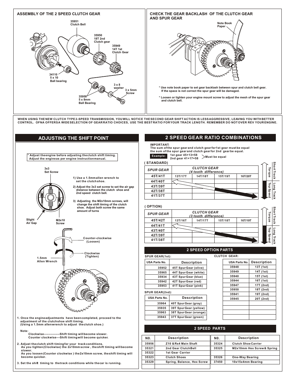 Adjusting The Shift Point 2 Speed Gear Ratio Combinations