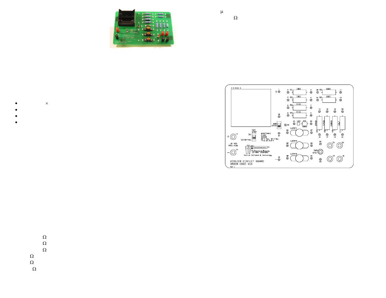 Vernier Circuit Board User Manual | 2 pages