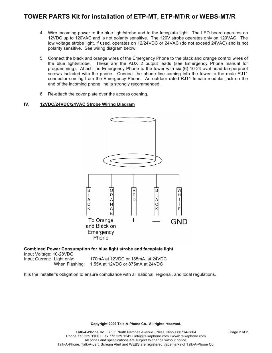 talkaphone etp mt blue light emergency phone tower page2 talkaphone etp mt blue light emergency phone tower user manual talk a phone etp-400 wiring diagram at gsmx.co