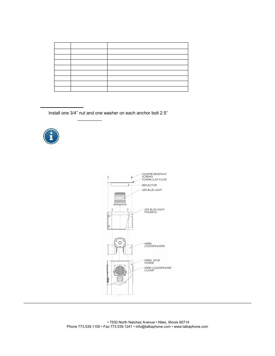 Webs-mt/r tower installation instructions | Talkaphone WEBS-MT/R-