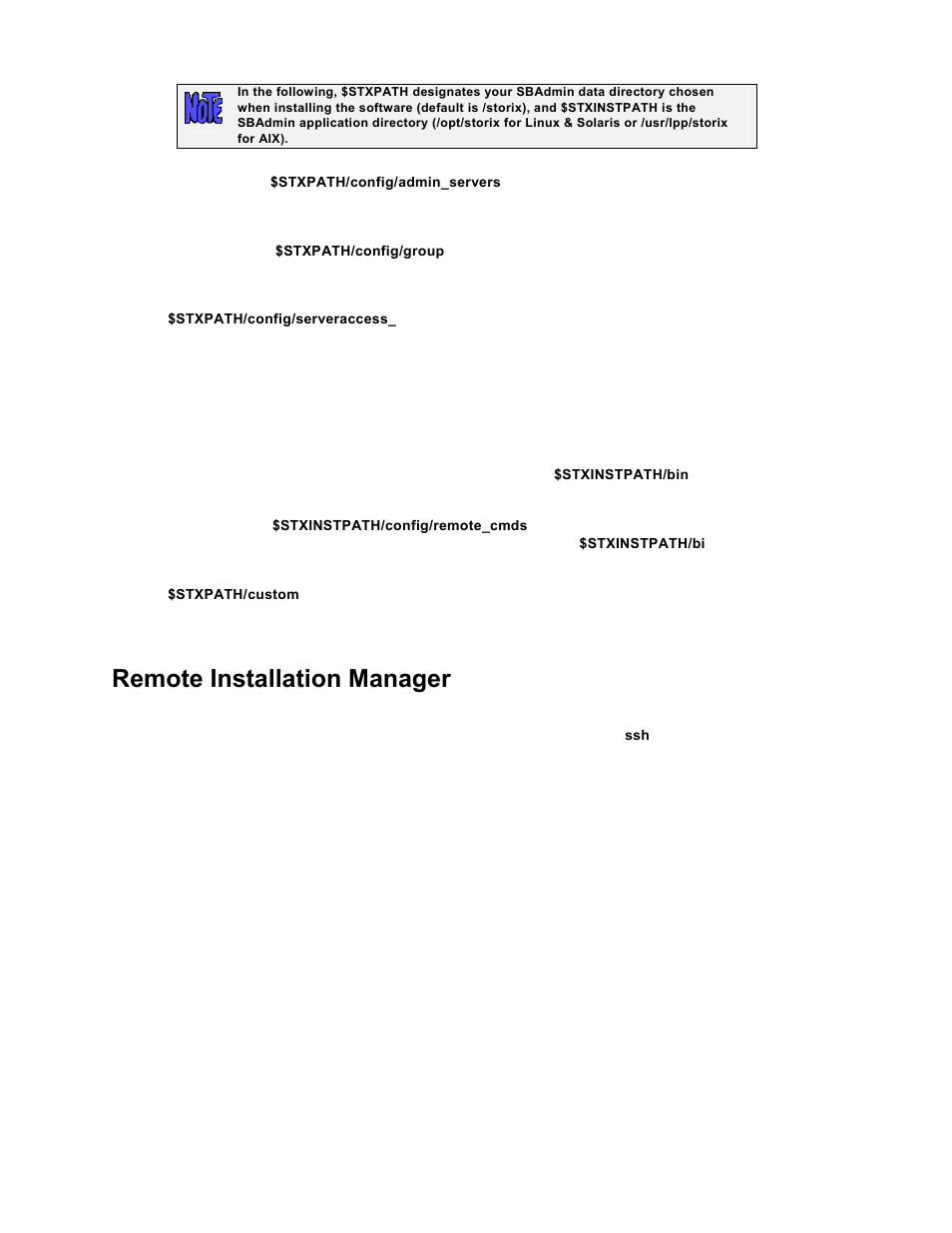 Remote installation manager | Storix Software SBAdmin TSM