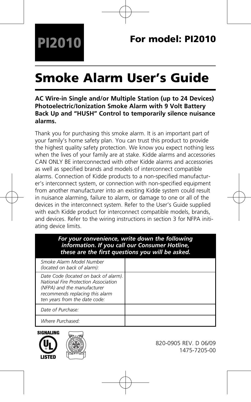 Kidde PI2010 User Manual | 16 pages