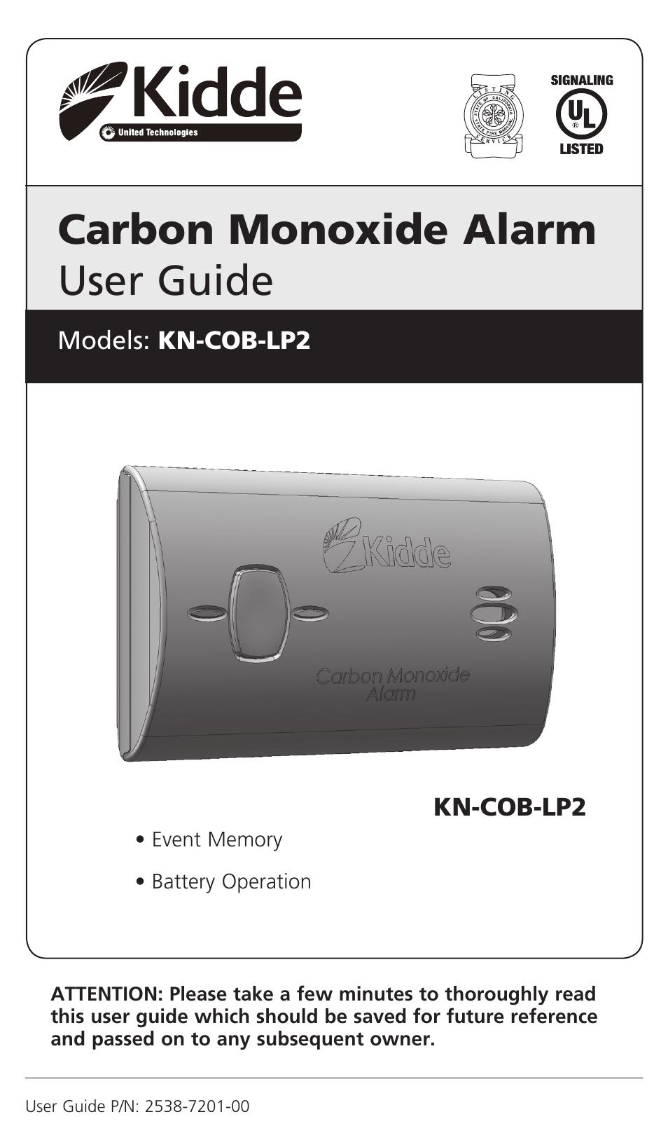 kidde carbon monoxide alarm manual