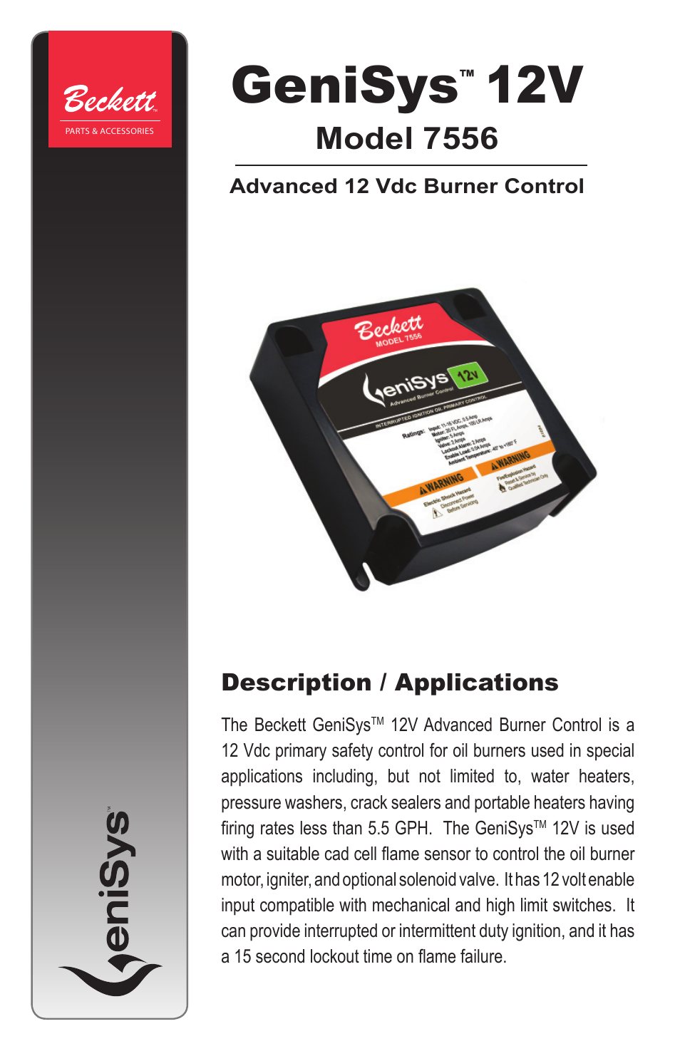 beckett 7556 12v genisys control page1 beckett 7556 12v genisys control user manual 8 pages  at aneh.co