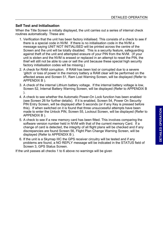 Self test and initialisation | BendixKing SKYMAP IIIC User Manual | Page 45  / 155