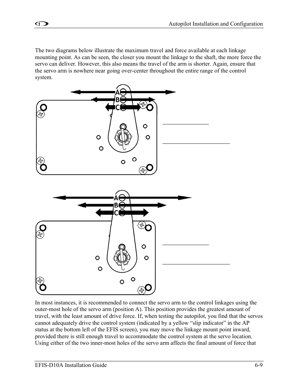 Linkage mount position force and travel | Dynon Avionics EFIS-D10A Installation  Guide User Manual