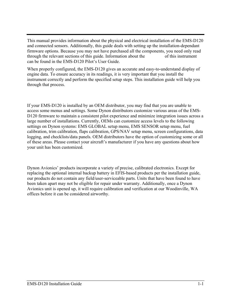 introduction oem installations warning dynon avionics ems d120 rh manualsdir com Instruction Manual Clip Art Wildgame Innovations Manuals