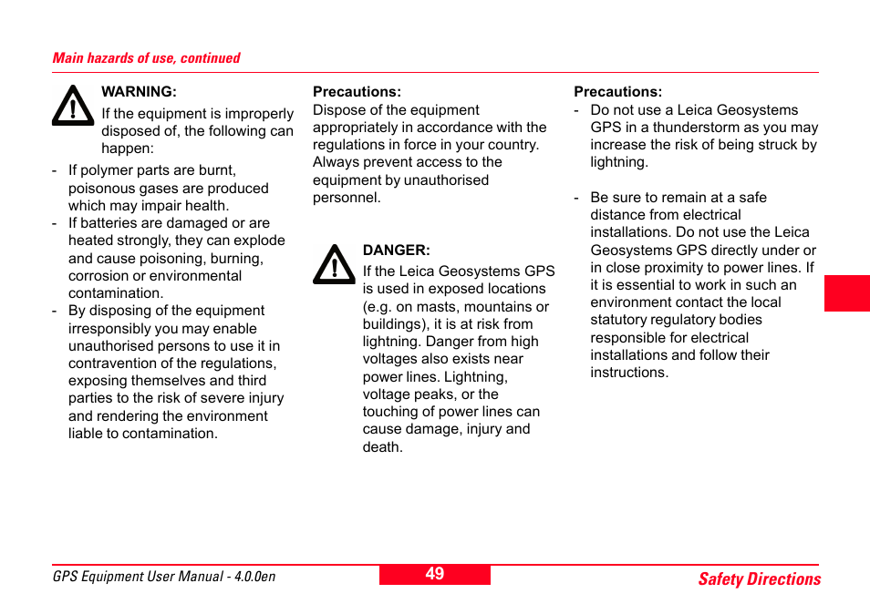 Leica Geosystems Gps System 500 Equipment User Manual User Manual