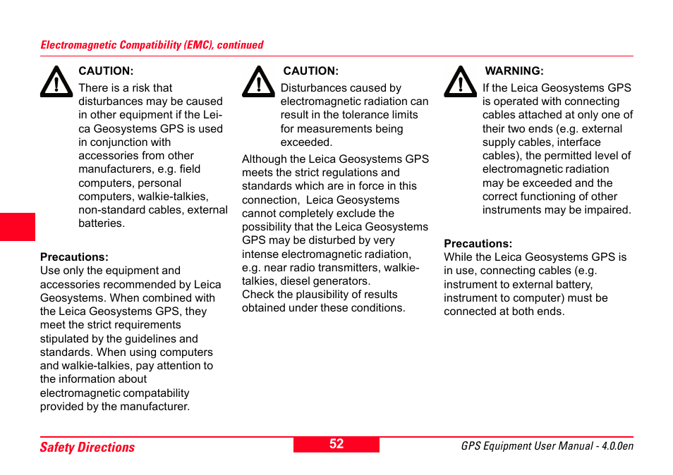 Leica Geosystems GPS System 500 Equipment - User Manual User