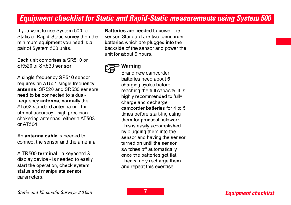 Equipment checklist for static and rapid, Static measurements using