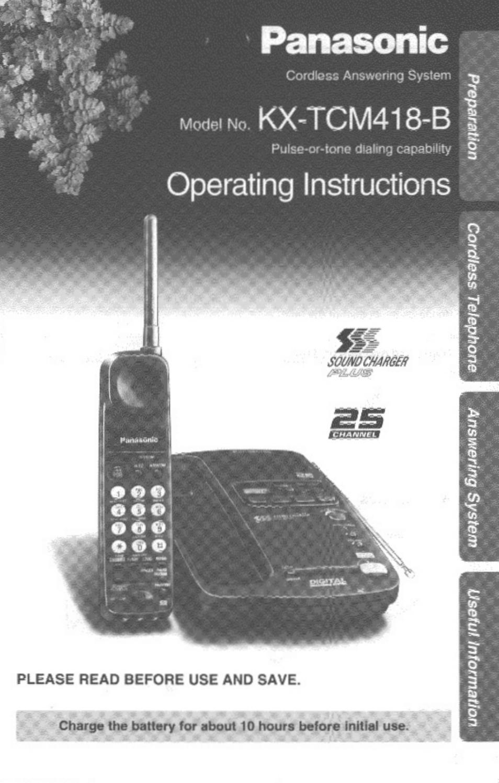 Panasonic SOUND CHARGER KX-TCM418-B User Manual | 56 pages